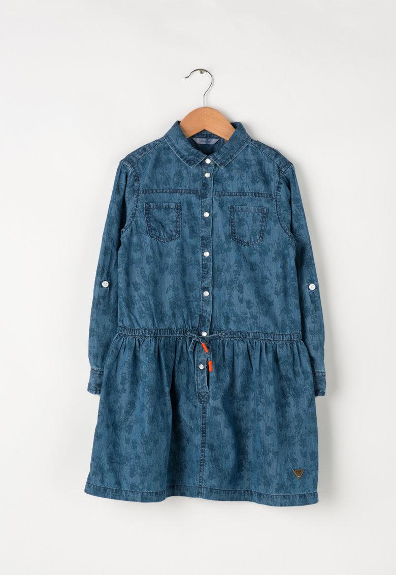 rochie-camasa-denim-cu-imprimeu-vegetal-scurta-guess-vanzare-online