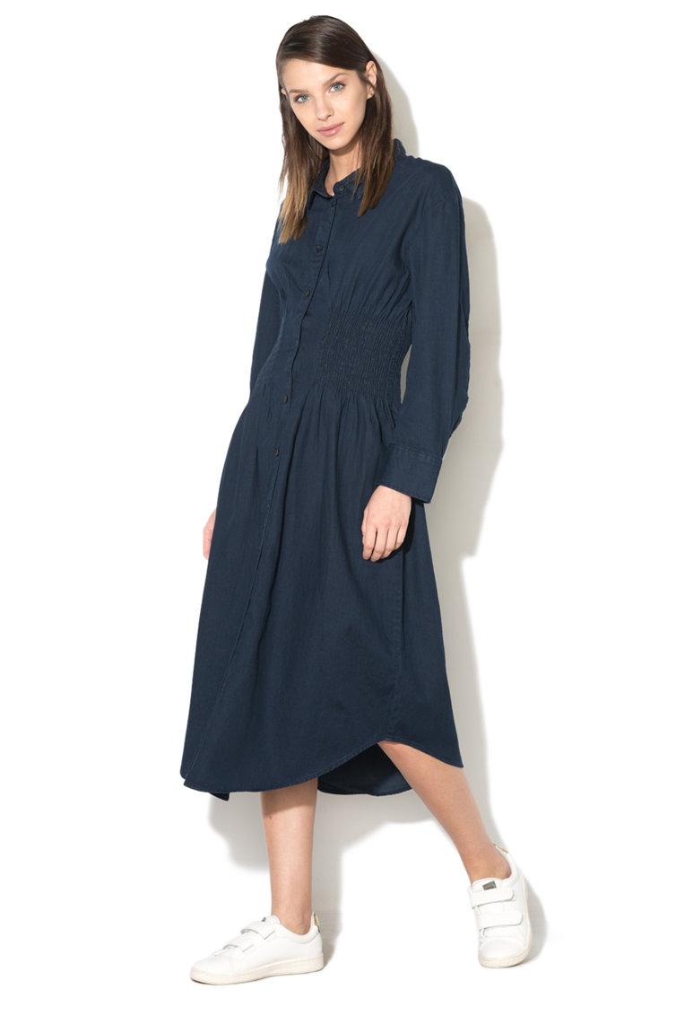 rochie-camasa-lunga-bleumarin-cu-pliuri-in-talie-moderna-casual-vanzare-online